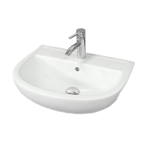 Rak Compact 550mm Semi Recessed Basin - 1 Tap Hole